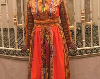 Dashiki Maxi Dress with pockets (xs to 4xxxxl)