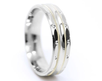 6mm 10k 14k or 18k White and Rose Gold or Silver Wedding Band, One tone Two tone gold Ring, Filigree ring with Milgrain, 925 Silver, 0003