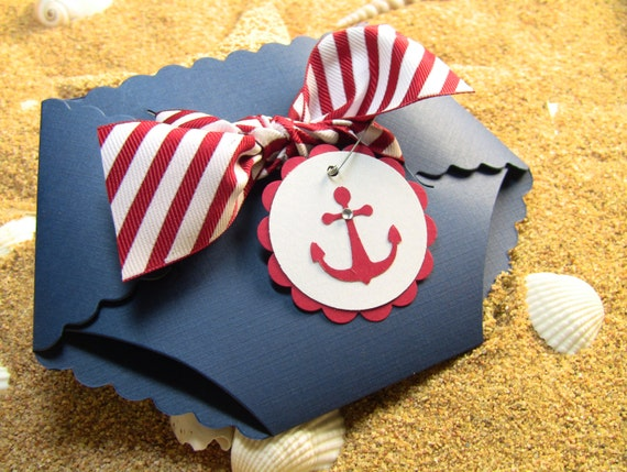 Nautical Shower Invitation Cards Diaper Invitation Cards