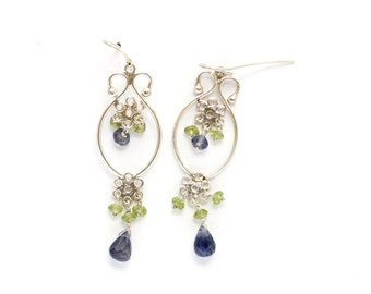 sterling silver chandelier french ear wire earring with faceted beads of iolite and peridot (AA1310)