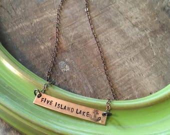 Five Island Lake Copper Bar Necklace