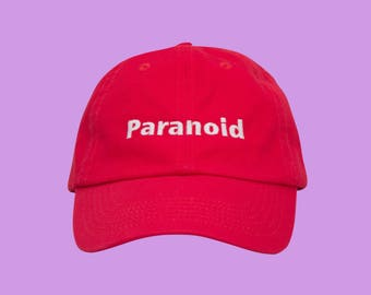 Paranoid, Tumblr Dad Hat, Cool Dad Hats, Paranoid Clothing, Aesthetic Clothing, Tumblr Hat, Summer Hat, Beach Hat, Red Dad Hat, Red Cap