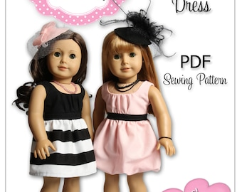 PDF Sewing Pattern for 18 Inch American Girl Doll Clothes - Derby Day Dress ePattern