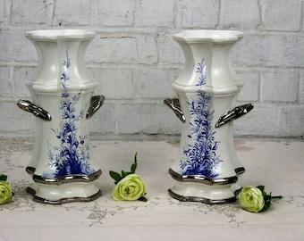 couple pair Trumpet vases Blue White Bassano Italy ceramic