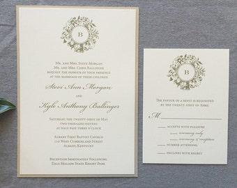 Sample Victorian Wreath wedding invitation in gold