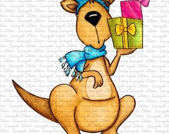 Christmas Roo Digital Stamp by Sasayaki Glitter - Naz - Line art only - Black and white