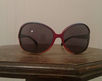One-of-a-Kind Hand Painted UV Protection Sunglasses - Sunset with a Blue Sky