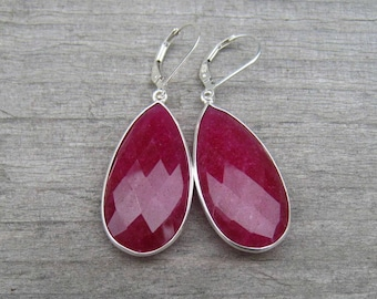 Large Sterling Silver Ruby Earrings, July Birthstone, Natural Ruby Jewelry, Gift For Mom, 40TH Anniversary Gift