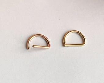 D Septum Ring, Rose Gold Septum Ring 14K Gold Filled 925 Sterling Silver Septum Ring.
