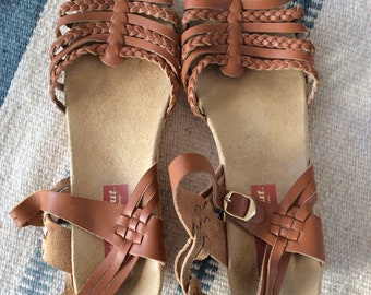 1980s Strappy Leather Wedge Sandals