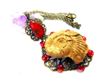 Talisman Necklace ammonite and red jasper