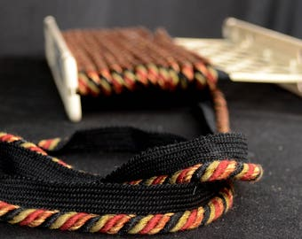 Country Side Ebony Black Copper Red Lip Cord Trim