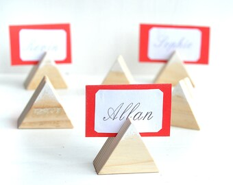 11 Wooden guest card table holders, Rustic wedding decor, Wood wedding table number holder, Wood place card holders, Woodland wedding stands