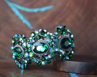 emerald green rhinestone bracelet, emerald rhinestone bangle, large pageant bracelet, wide crystal bracelet, prom jewelry