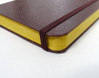 A6 Notebook, journal, faux leather, journal, elastic, rounded, recycled, marbled, elegant, minimalistic, retro, brown, moleskine