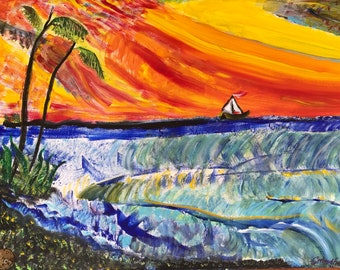 """Boat on Horizon-acrylic painting-24 x 18""""-stretch cotton canvas-4th in Boat Series-added signature watch part-vivid colors"""