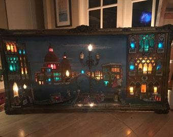 Epic huge lighted mid century vintage 3D three dimensional framed shadow box studio art picture