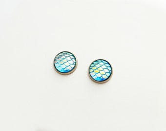 Scale Blue Iridescent Post Earrings - Choose Your Tray Color (Dragon Mermaid)