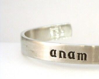 Irish Blessing Bracelet Cuff / Irish Blessing Gift / Irish Phrase Cuff in Irish Font / Personalized Thin Bracelet Cuff in Aluminum