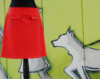Women's skirt retro RED rock PURE embroidery ladies retro skirt red with stitchery