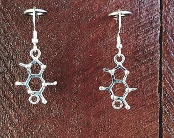 Chocolate (theobromine) Molecule Sterling Silver Earrings