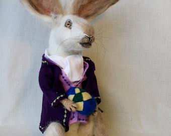 Needle felted Easter Bunny, Vintage-inspired, White Rabbit, Easter
