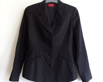 Vintage KENZO Paris Blazer - Black Kenzo Jacket - 1990s 90s Blazer Black Linen - Embroidery Floral Flowers - French Designer  Size 38 M