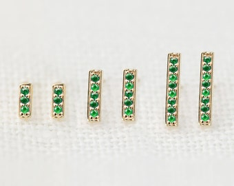 Emerald stud earrings in solid 14k rose gold, yellow gold, white gold, Natural emerald dainty simple bar studs earrings, May