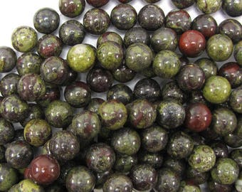 "10mm dragon blood jasper round beads 15.5"" strand 30976"