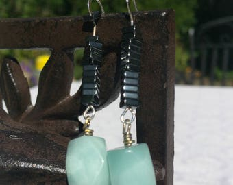 Hematite and Amazonite dangle earrings on sterling silver wire