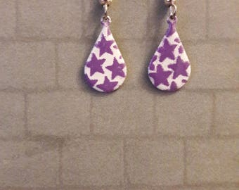 Hand enamelled purple star droplet earrings.