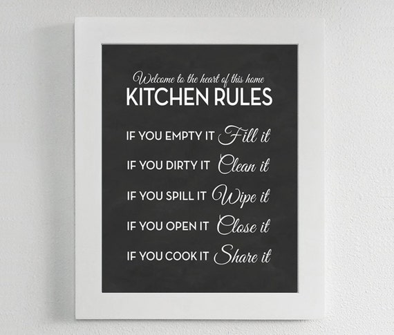 Kitchen Rules Print Chalkboard Sign Poster Art Quote