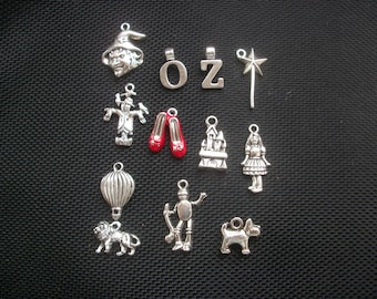 12 Wizard of OZ Assorted Silver Tone Metal Charms