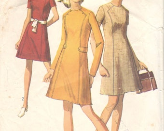 1960s Simplicity 8491 Misses A Line Dress Pattern Front Seam Interest Womens Vintage Sewing Pattern Size 10 Bust 32 OR  Size 16 Bust 38