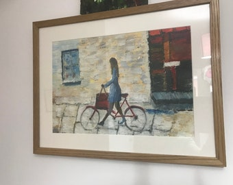 An abstract oil painting - Girl with her bicycle
