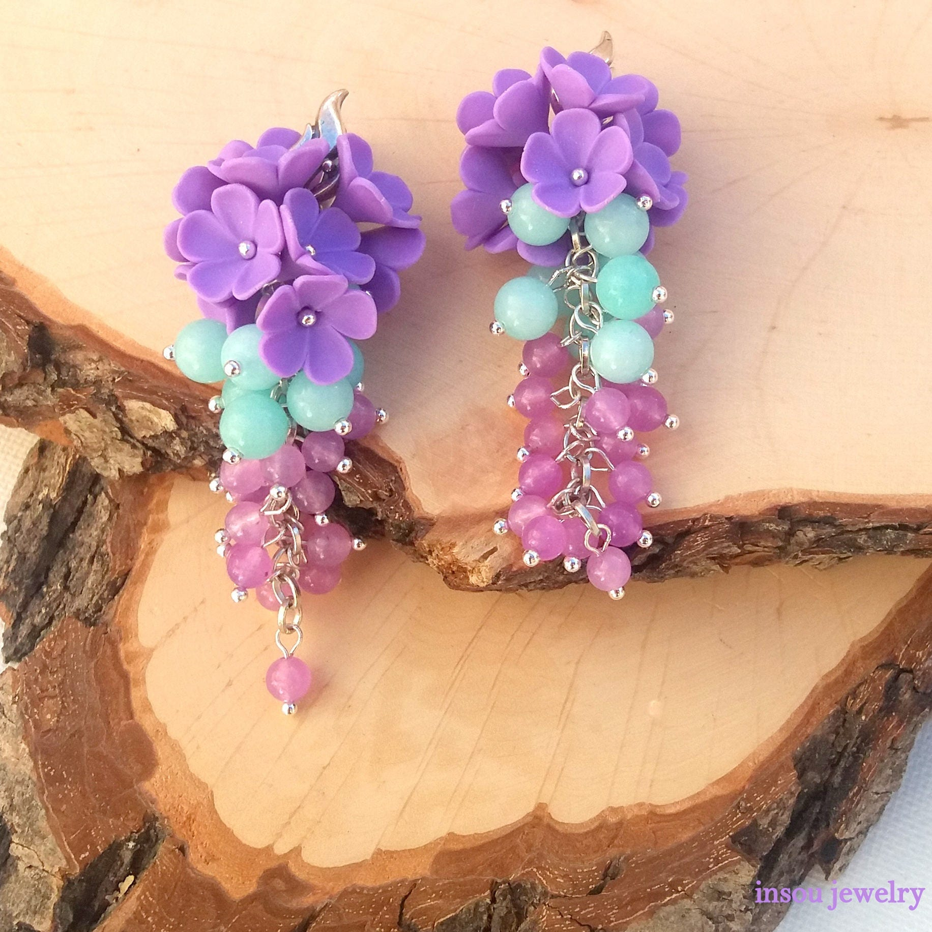 il p purple friend fullxfull boho earrings terrarium tiny jewelry hippie flower dried