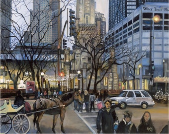 Michigan Ave Chicago Oil Painting - 15x12in Giclee Print
