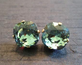 Erinite Swarovski Crystal Earrings/Green Swarovski Bridesmaid Earrings/ Swarovski Earrings/ Large Square Crystal Studs/Swarovski Studs