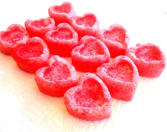 Sugar Cubes, Hearts - Flavored, Colored, Sugar for Tea Parties, Champagne Toasts, Tea, Coffee, Favors, Showers