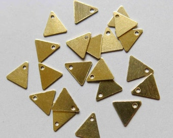 200pcs Raw Brass Triangle Pendant, Findings 8mm x 7mm - F196