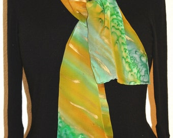Silk Scarf Hand Painted. Green, Terracotta Hand Painted Shawl. Handmade Silk Wrap BRONZE RAIN. Size 8x54. Birthday Gift Mother's Day.