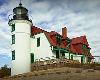 Point Betsie Lighthouse on the Lake Michigan Shore near Crystal Lake and Frankfort in Michigan No.091 - A Lighthouse Seascape Photograph