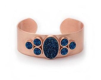 Statement Cuff - Large Druzy Cuff - Royal Blue Druzy in Rose Gold Cuff - Statement Bracelet - Druzy / Drusy / Drusie