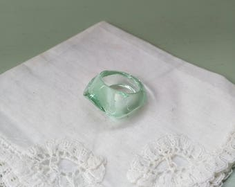 Green with water vintage Baccarat Crystal ring