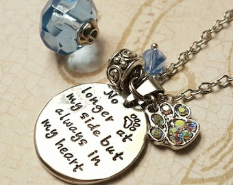 No Longer By My Side - Pet Keepsake Urn Necklace | Pet Urn Jewelry | Pet Loss | Pet Paw Memorial Cremation Ash Jewelry | Pet Lovers Necklace