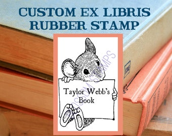 Mouse Ex Libris Bookplate Rubber Stamp - Personalized - Mounted - by Blossom Stamps