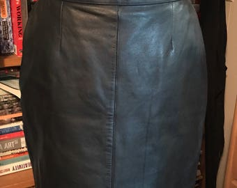 90's High Waisted Black Leather Pencil Skirt