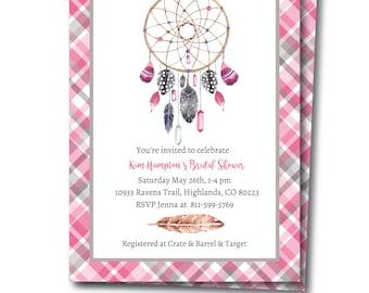 Dream Catcher Invitation, Tribal Party Invitation, Dream Catcher Shower Invite, Boho Invite, Instant Download, Editable Invitation, Templett