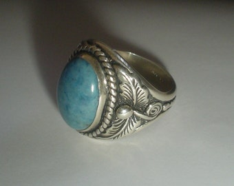 Silver ring with teal stone sterling Carolyn Pollack vintage Southwestern size 12.5 UK Z large size