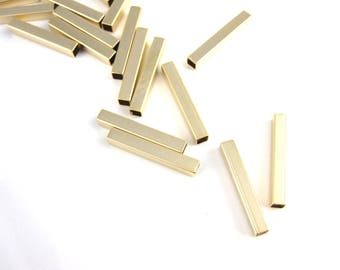 Tube bar, 16k gold plated tube bead, 3 X 20 mm,  matte Gold tube bead, Slim bar, bar bead, MB-002